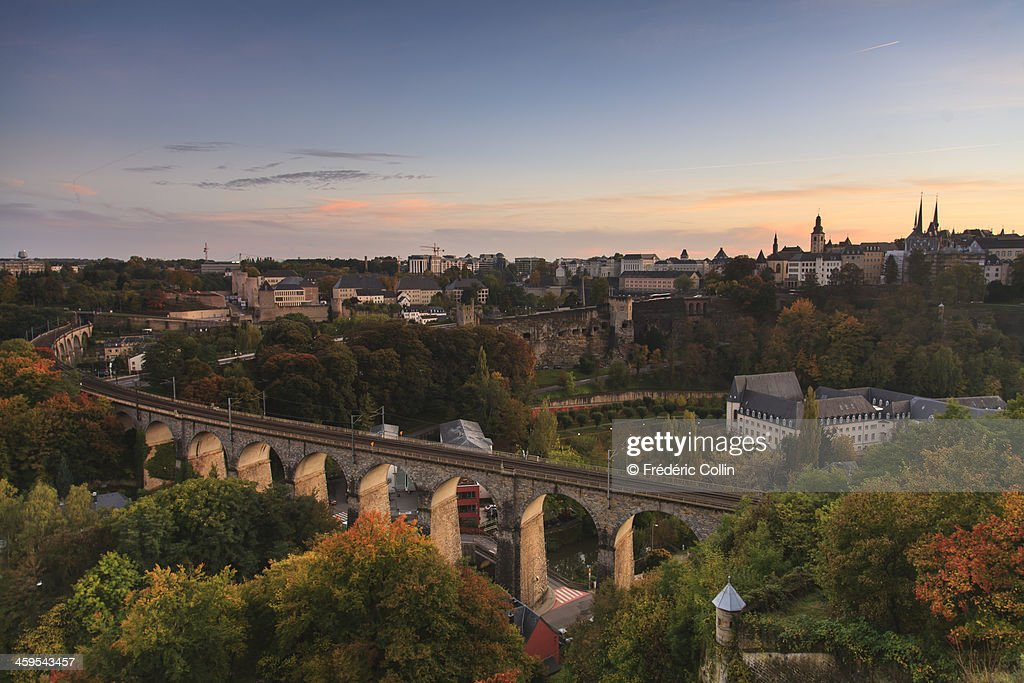 Luxembourg cityscape at sunset in autumn