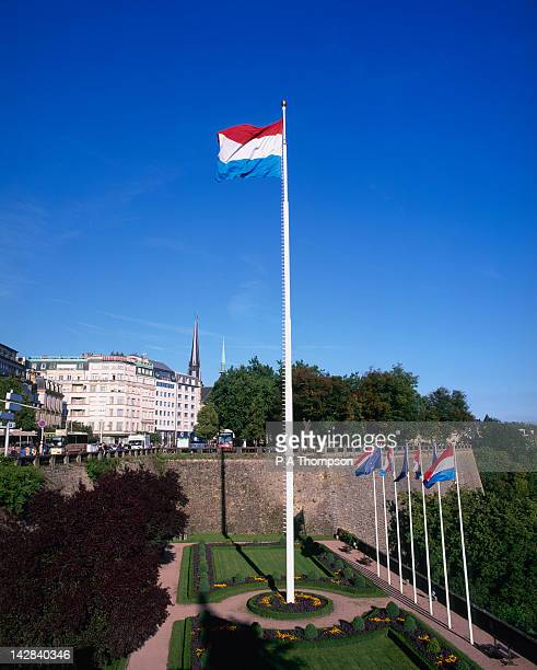 Luxembourg flag on tall flag pole, Luxembourg City, Luxembourg