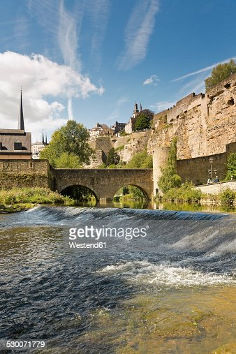 Luxembourg, Luxembourg City, Barrage of the river Alzette, Lucilinburhuc and Casemates du Bock