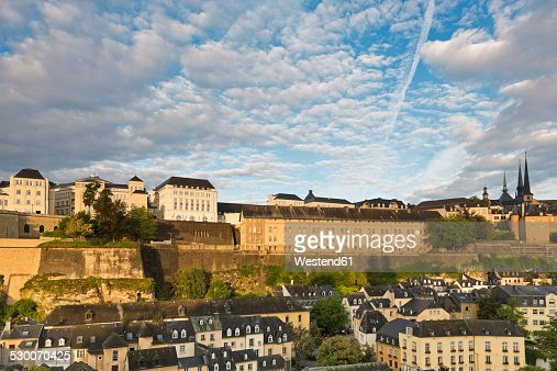 Luxembourg, Luxembourg City, District Grund, View to the archive national, ANLux, on Plateau de Saint-Esprit and the city