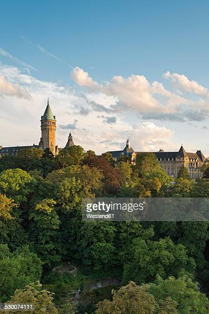 Luxembourg, Luxembourg City, Petrusse valley, Musee de la Banque in the evening