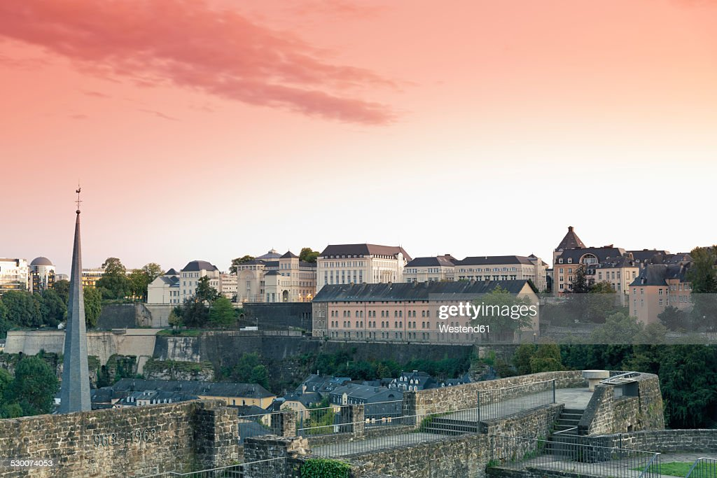 Luxembourg, Luxembourg City, View from the casemates, Castle of Lucilinburhuc, on Neumuenster convent and the city in the evening light
