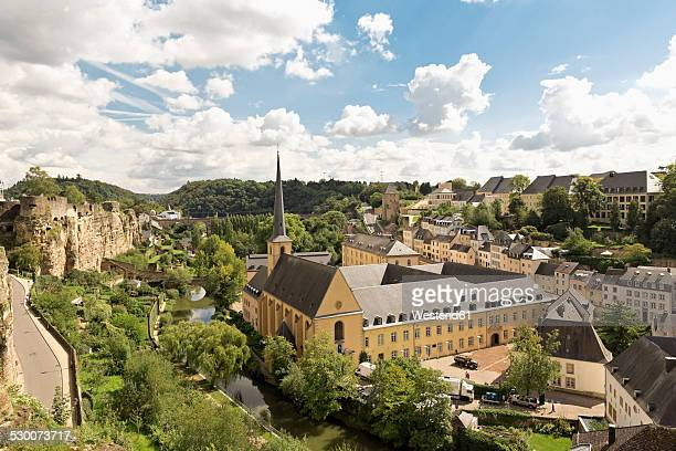 Luxembourg, Luxembourg City, View to the Benediktiner abbey Neumuenster and St. Johannes church, casemates left