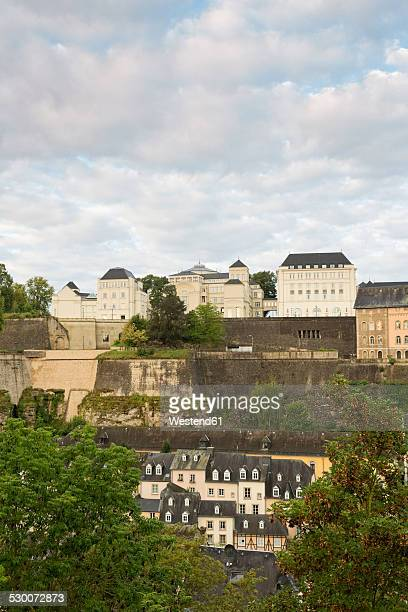 Luxembourg, Luxembourg City, View to the district Grund, the Montee de Grund and the Cite Judiciare in the morning light