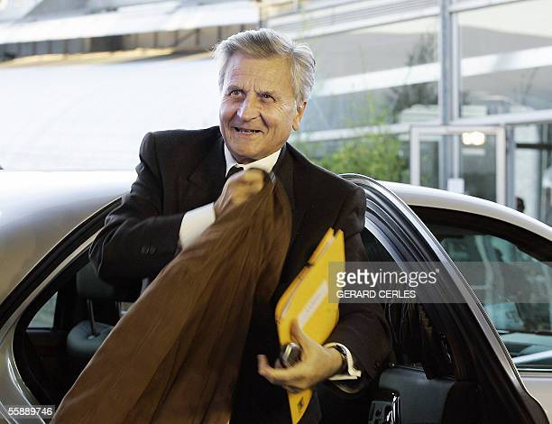 Frenchman Jean Claude Trichet chairman of the ECB exits a vehicle prior to the informal Eurogroup Council meeting at the EU Headquarters in...