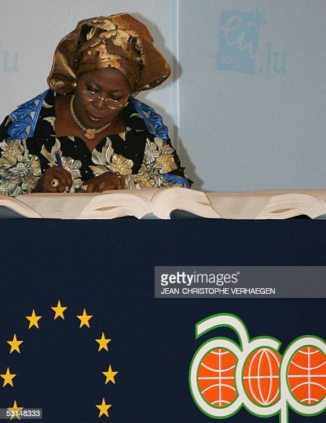 Massiyatou Latoundji Lauriano Benin's Minister for Industry Commerce and Employment signs the revisited Cotonou agreement during the 30th ECACP...