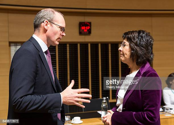 Luxembourg October 13 2014 Irish Minister for Agriculture Food the Marine Simon COVENEY is talking with the EU fisheries and maritime affairs...