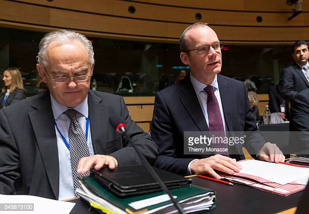 Luxembourg October 13 2014 Irish Minister for Agriculture Food the Marine Simon COVENEY is waiting prior a Fisheries EU Ministers meeting