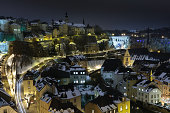 Luxembourg Old City view at night under snow
