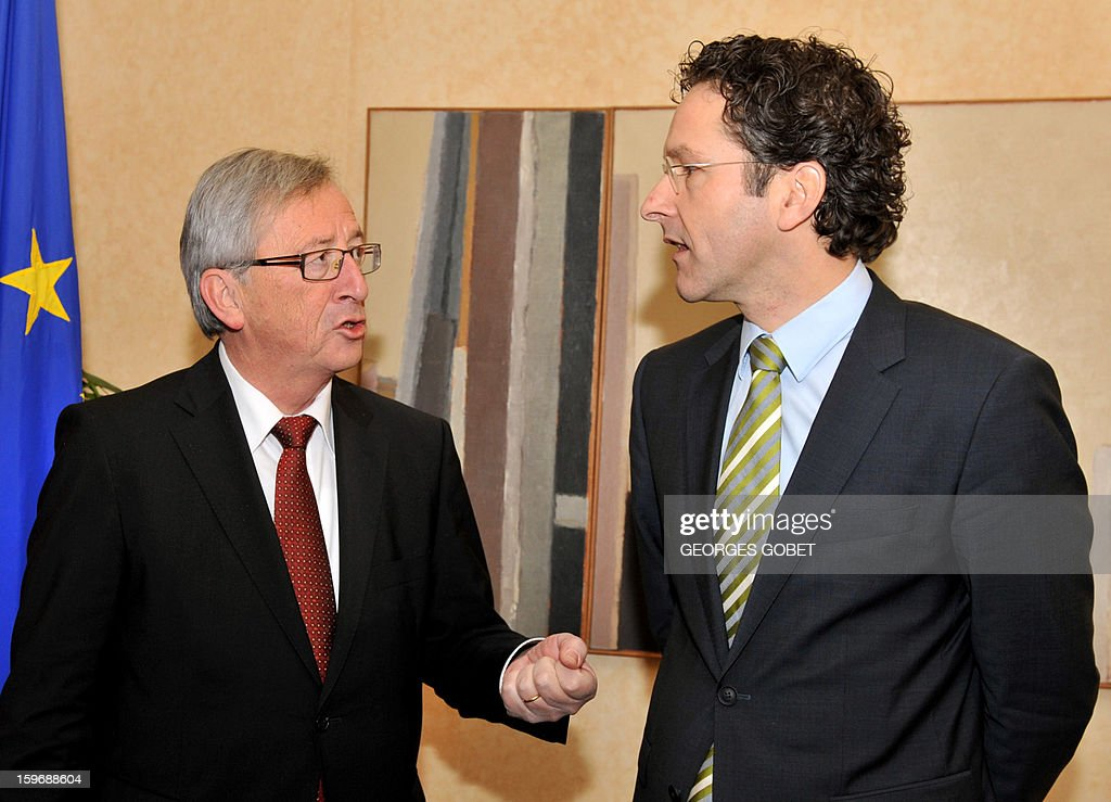 Luxembourg Prime Minister and Eurogroup president Jean-Claude Juncker (L) welcomes Dutch Finance Minister Jeroen Dijsselbloem at the Hotel de Bourgogne before a meeting in Luxembourg on January 18, 2013. Juncker and his probable successor as head of the Eurogroup are due to review the financial and economic situation in the Euro zone and the preparation of the next meeting of the Eurogroup, to be held on January 21 in Brussels.