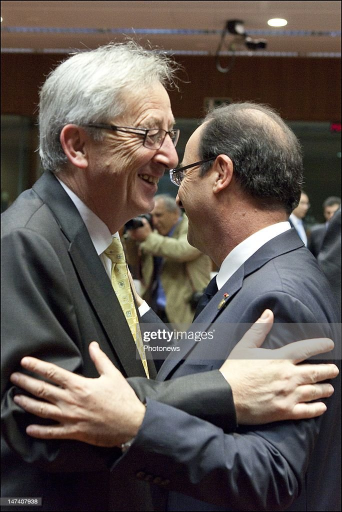 Luxembourg Prime Minister <a gi-track='captionPersonalityLinkClicked' href=/galleries/search?phrase=Jean-Claude+Juncker&family=editorial&specificpeople=207032 ng-click='$event.stopPropagation()'>Jean-Claude Juncker</a> and French President Francois Hollande greet each other on the second day of the European Summit on June 29, 2012 in Brussels, Belgium. Leaders are meeting to discuss the Multiannual Financial Framework, the European Semester and the European growth agenda.