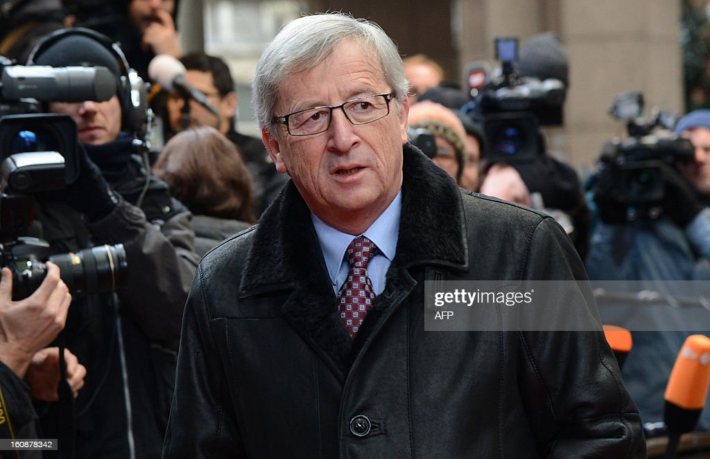 Luxembourg Prime Minister Jean-Claude Juncker arrives at the EU Headquarters on February 7, 2013 in Brussels, on the first day of a two-day European Union leaders summit. European Union leaders head into a fresh clash over the EU's budget with the only certainty being that proposals for several years will be cut back. AFP PHOTO / THIERRY CHARLIER