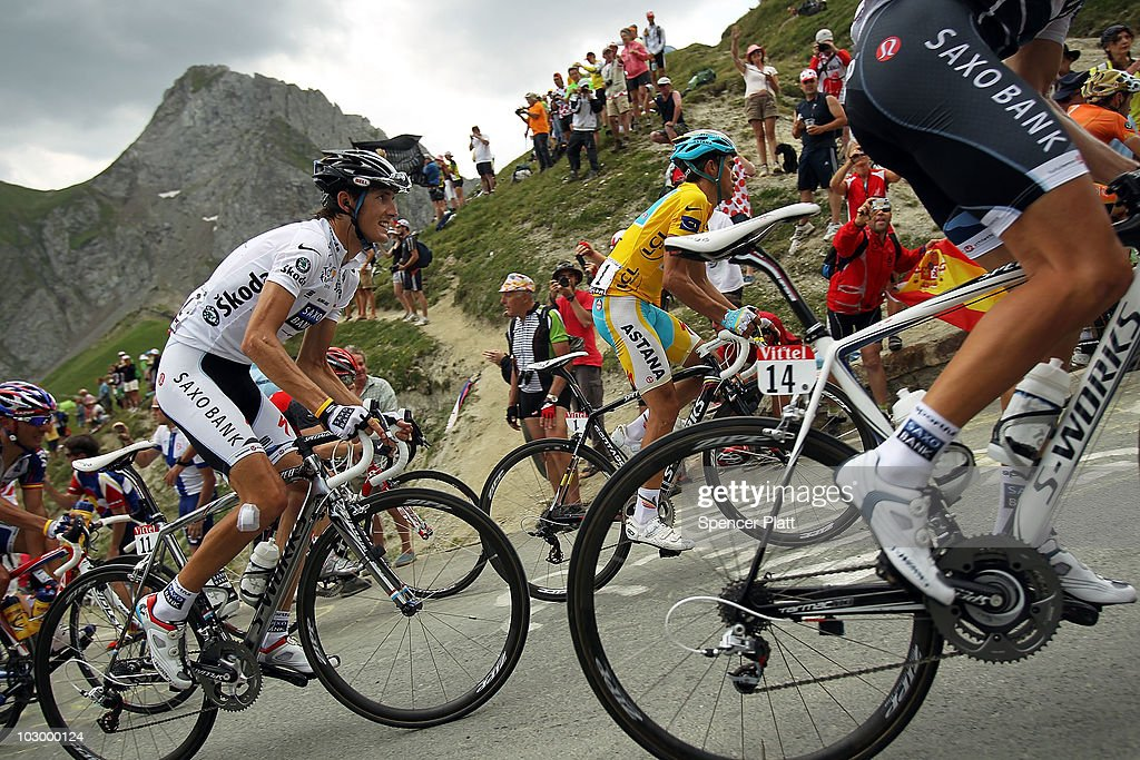 Luxembourg's <a gi-track='captionPersonalityLinkClicked' href=/galleries/search?phrase=Andy+Schleck&family=editorial&specificpeople=768445 ng-click='$event.stopPropagation()'>Andy Schleck</a> (left) and Spaniard <a gi-track='captionPersonalityLinkClicked' href=/galleries/search?phrase=Alberto+Contador&family=editorial&specificpeople=562697 ng-click='$event.stopPropagation()'>Alberto Contador</a>, in the yellow jersey, ride up a climb during stage 16 of the Tour de France on July 20, 2010 in Pau, France. The stage, between Bagneres-de-Luchon and Pau, featured four major climbs including the Col du Tourmalet. French rider Pierrick Fedrigo won the stage while <a gi-track='captionPersonalityLinkClicked' href=/galleries/search?phrase=Alberto+Contador&family=editorial&specificpeople=562697 ng-click='$event.stopPropagation()'>Alberto Contador</a> retained the yellow jersey. The iconic bicycle race will include a total of 20 stages and will cover 3,642km before concluding in Paris on July 25.