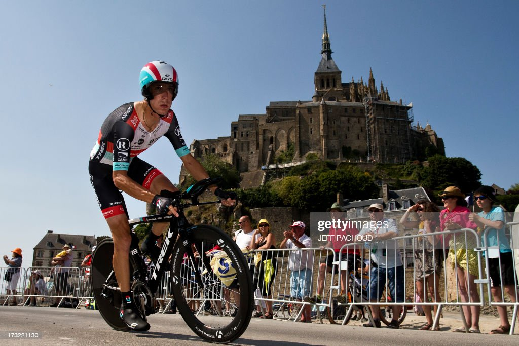Luxembourg's Andy Schleck competes during the 33 km individual time-trial and eleventh stage of the 100th edition of the Tour de France cycling race on July 10, 2013between Avranches and Mont-Saint-Michel, northwestern France.