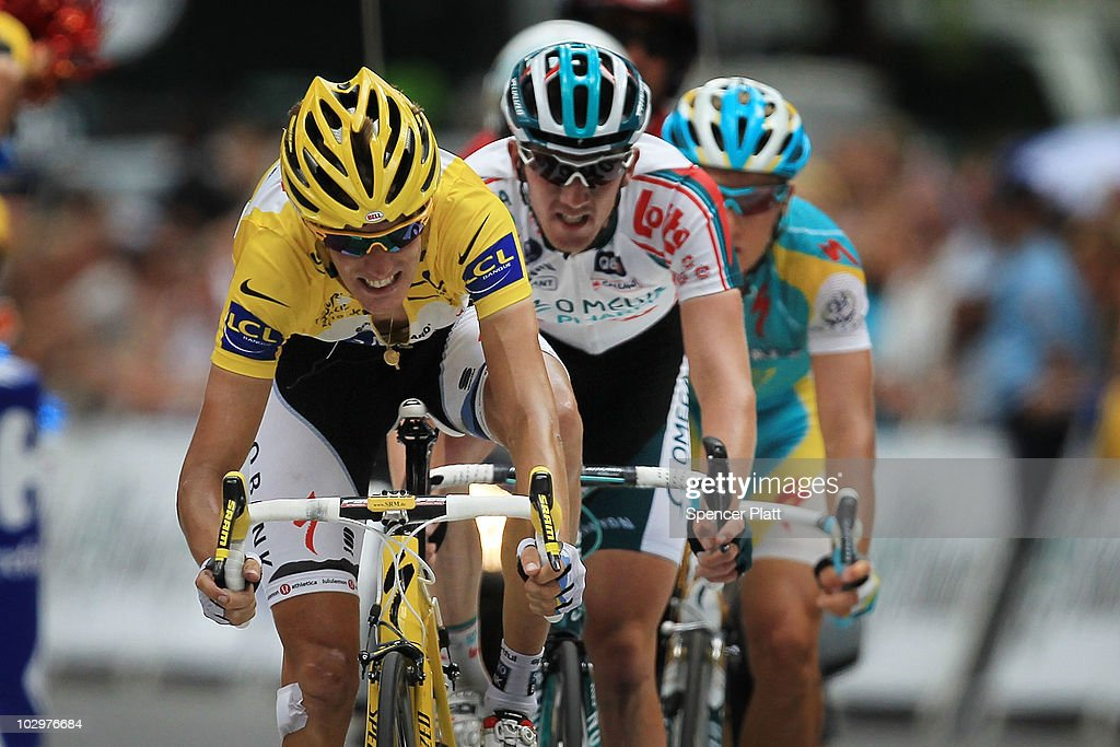 Luxembourg's <a gi-track='captionPersonalityLinkClicked' href=/galleries/search?phrase=Andy+Schleck&family=editorial&specificpeople=768445 ng-click='$event.stopPropagation()'>Andy Schleck</a> crosses the finish line after losing the yellow jersey to Spaniard Alberto Contador at the end of stage 15 of the Tour de France on July 19, 2010 in Bagnères-de-Luchon, France. The 187.5km stage from Pamiers to Bagnères-de-Luchon featured two major climbs and the 1755m Port de Balès climb near the end of the stage. Bbox rider Thomas Voeckler, the National Champion of France, won the stage. The iconic bicycle race will include a total of 20 stages and will cover 3,642km before concluding in Paris on July 25.