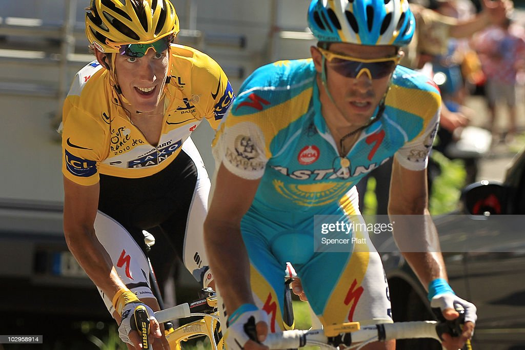 Luxembourg's <a gi-track='captionPersonalityLinkClicked' href=/galleries/search?phrase=Andy+Schleck&family=editorial&specificpeople=768445 ng-click='$event.stopPropagation()'>Andy Schleck</a>, in the yellow jersey, chases Spain�s <a gi-track='captionPersonalityLinkClicked' href=/galleries/search?phrase=Alberto+Contador&family=editorial&specificpeople=562697 ng-click='$event.stopPropagation()'>Alberto Contador</a> on the final climb of Stage 14 of the Tour de France, the first stage to enter the Pyrenees, on July 18, 2010 in Ax 3 Domaines, France. The 184.5km course from Revel features some of the toughest climbs so far in the race including the Port de Pailhères, which at 15.5 kilometers with an average gradient of 7.9% and higher may reveal who is strongest in the peloton. Schleck of team Saxo Bank continues to wear the yellow jersey, while Astana`s <a gi-track='captionPersonalityLinkClicked' href=/galleries/search?phrase=Alberto+Contador&family=editorial&specificpeople=562697 ng-click='$event.stopPropagation()'>Alberto Contador</a> of Spain is a close second. Christophe Riblon of France won the stage. The iconic bicycle race will include a total of 20 stages and will cover 3,642km before concluding in Paris on July 25.