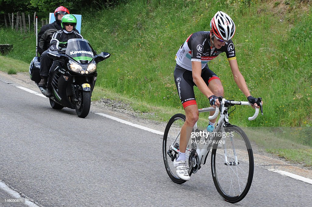 Luxembourg's Andy Schleck rides on June 9, 2012 in the sixth stage of the 64rd edition of the Dauphine Criterium cycling race between Saint-Aban-Leysse and Morzine, French Alps.