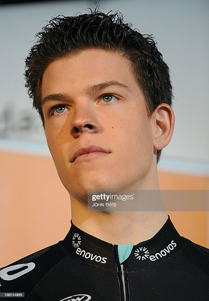 Luxembourg's <a gi-track='captionPersonalityLinkClicked' href=/galleries/search?phrase=Bob+Jungels&family=editorial&specificpeople=8910054 ng-click='$event.stopPropagation()'>Bob Jungels</a> poses during the presentation of the cycling Leopard Trek team in Bereldange on February 16, 2012.