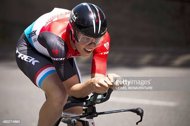 Luxembourg's Bob Jungels rides during the time trial first stage of the 66th edition of the Dauphine Criterium cycling race on June 8 2014 in Lyon...