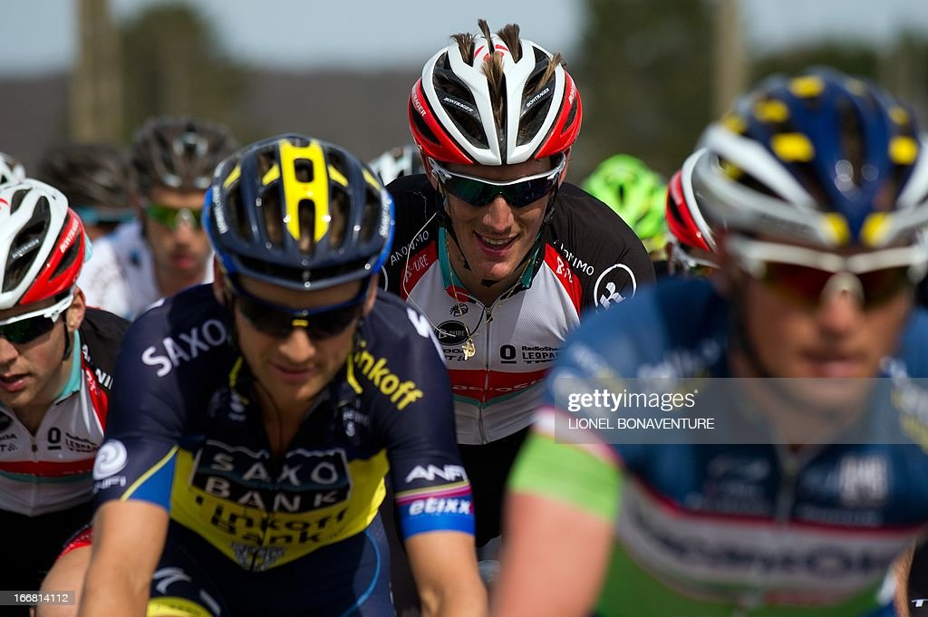 Luxembourg's cyclist Andy Schleck rides during the 77th Fleche Wallonne one-day cycling race, from Binche to Huy, on April 17, 2013. The 31-year-old Spanish cyclist Daniel Moreno, whose team leader Joaquim Rodriguez won last year - beat two Colombians Sergio Henao and Carlos Alberto Betancur to the line in the 205km race.