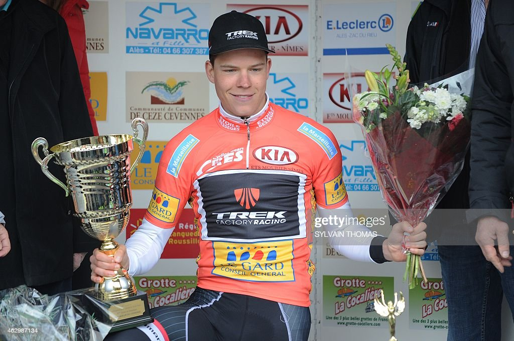 Luxembourg's cyclist <a gi-track='captionPersonalityLinkClicked' href=/galleries/search?phrase=Bob+Jungels&family=editorial&specificpeople=8910054 ng-click='$event.stopPropagation()'>Bob Jungels</a> celebrates on the podium after winning the 45th edition of the Etoile de Besseges cycling race on February 8, 2015 in Ales, southern France. AFP PHOTO / SYLVAIN THOMAS