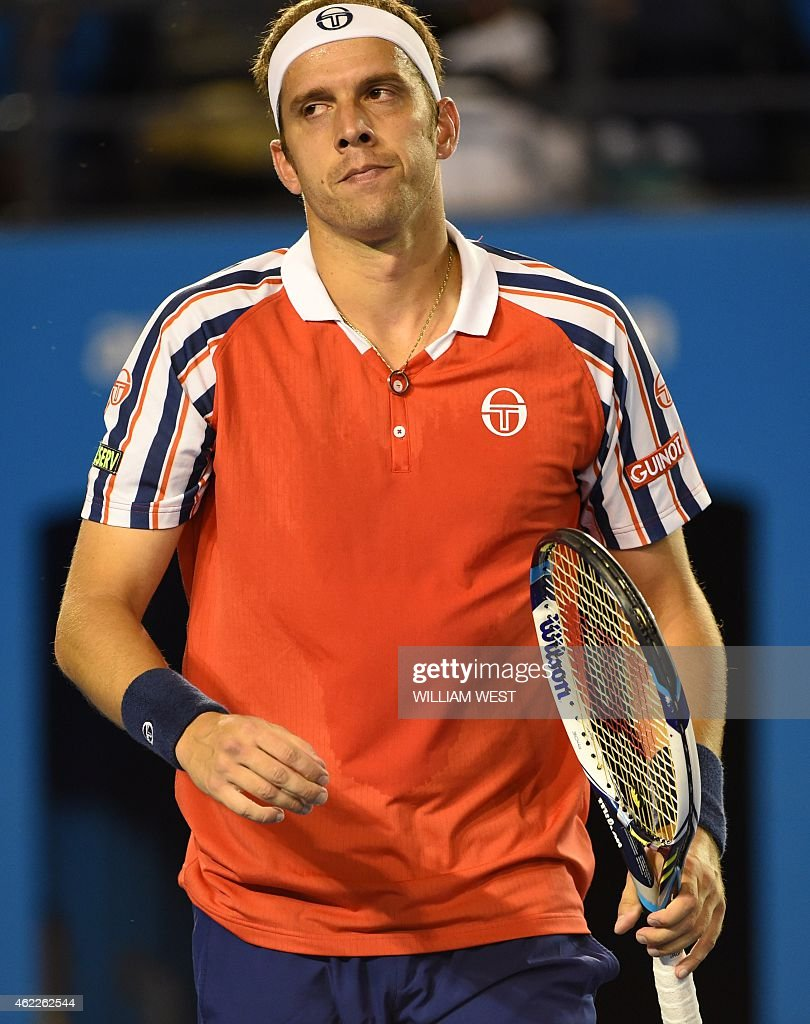 Luxembourg's <a gi-track='captionPersonalityLinkClicked' href=/galleries/search?phrase=Gilles+Muller&family=editorial&specificpeople=224381 ng-click='$event.stopPropagation()'>Gilles Muller</a> reacts during his men's singles match against Serbia's Novak Djokovic on day eight of the 2015 Australian Open tennis tournament in Melbourne on January 26, 2015.