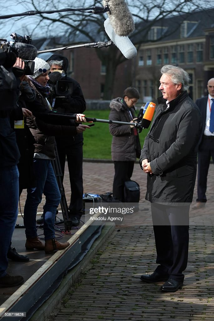 Luxembourg's Minister for Foreign Affairs Jean Asselborn answers journalist questions as he arrives to attend Informal Gymnich meeting of EU foreign ministers in Amsterdam, Netherlands on February 6, 2016.