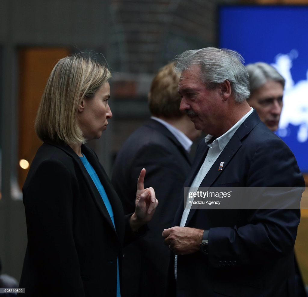 Luxembourg's Minister for Foreign Affairs Jean Asselborn (R) speaks with High Representative of the Union for Foreign Affairs and Security Policy Federica Mogherini prior to the Informal Gymnich meeting of EU foreign ministers in Amsterdam, Netherlands on February 6, 2016.