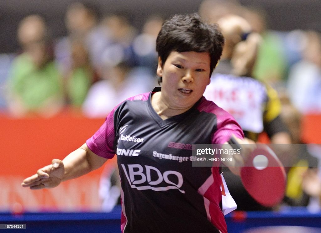 Luxembourg's Ni Xialian returns a shot against South Korea's Seok Hajung during their match in the women's team championship division group C at the 2014 World Team Table Tennis Championships in Tokyo on May 1, 2014.