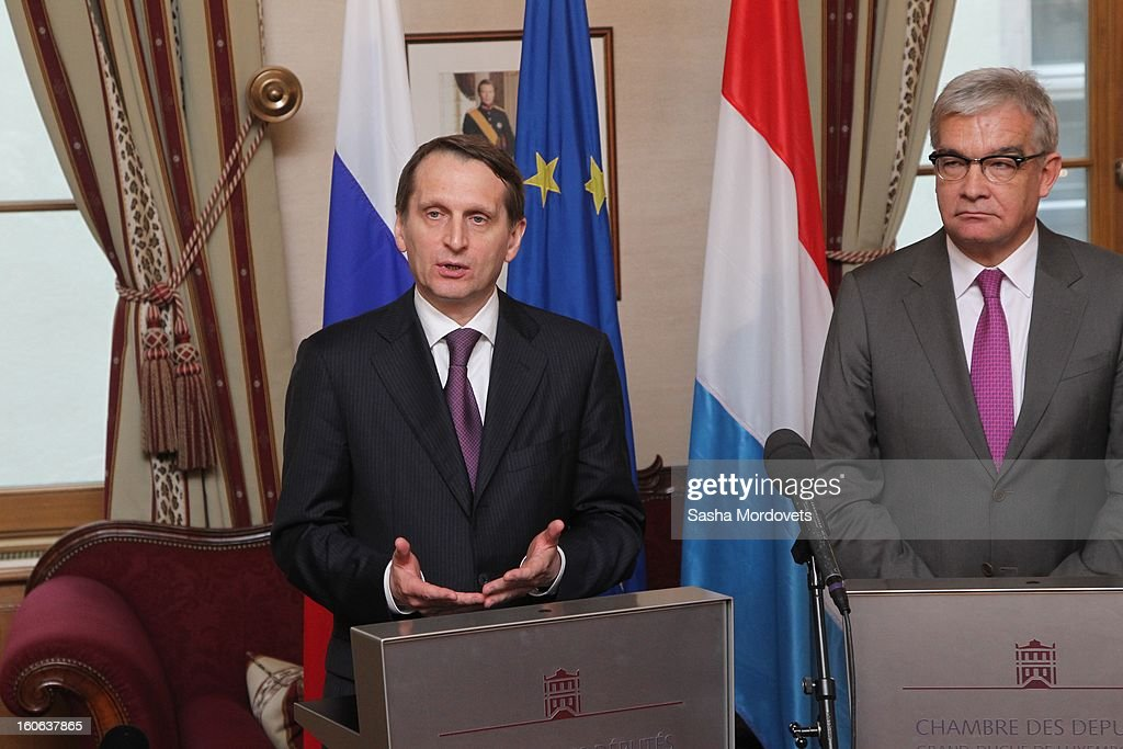 Luxembourg's Parliament Speaker Laurent Mosat (R) and Russian State Duma Speaker Sergey Naryshkin hold a press conference February 4, 2013 in Luxembourg. Naryshkin is on an official visit reportedly for discussions on bilateral economic and political relations.