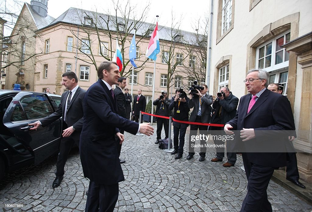 Luxembourg's Prime Minister Jean-Claude Junker (R) greets Russian State Duma Speaker Sergey Naryshkin (2nd L) during his arrival February 4, 2013 in Luxembourg. Naryshkin is on an official visit reportedly for discussions on bilateral economic and political relations.
