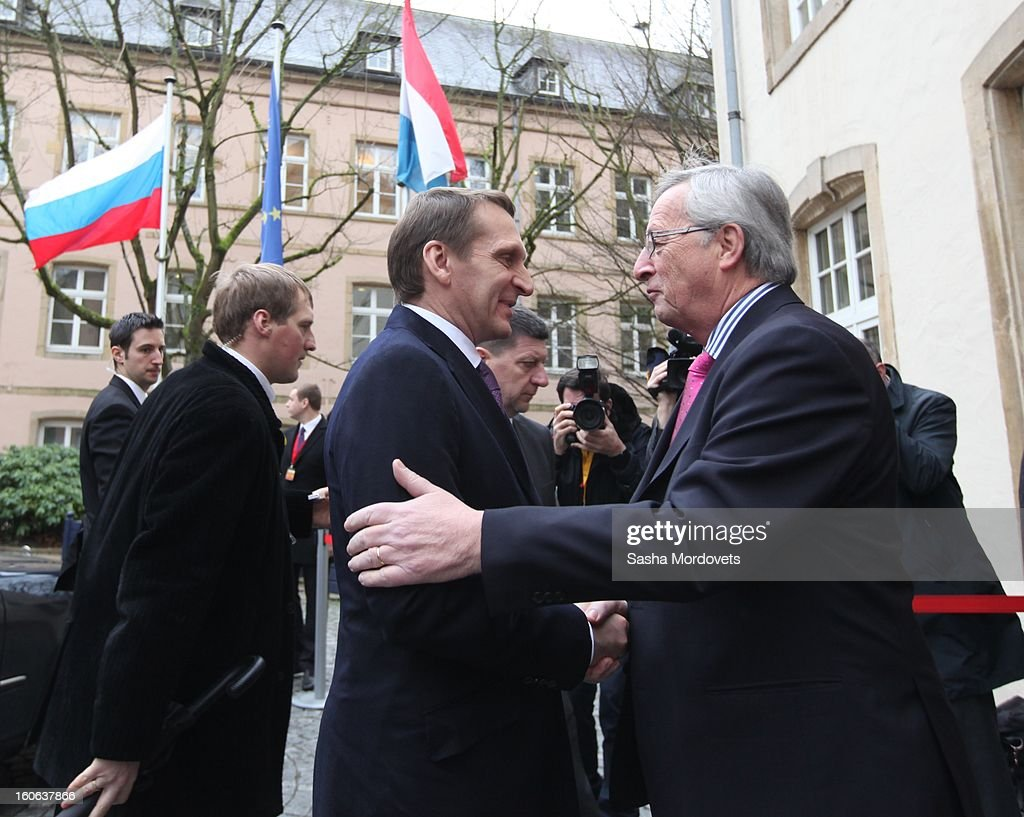 Luxembourg's Prime Minister Jean-Claude Junker (R) greets Russian State Duma Speaker Sergey Naryshkin (2nd R) during his arrival February 4, 2013 in Luxembourg. Naryshkin is on an official visit reportedly for discussions on bilateral economic and political relations.
