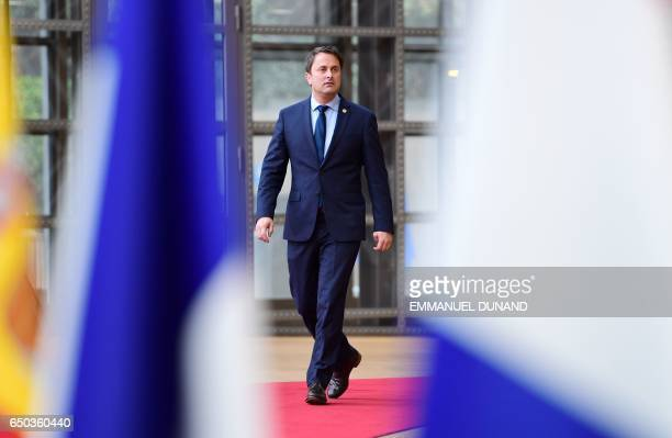 Luxembourg's Prime minister Xavier Bettel arrives to attend the EU summit at the new 'Europa' building in Brussels on March 9 2017 / AFP PHOTO /...