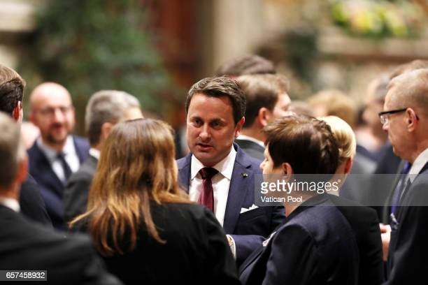 Luxembourg's Prime Minister Xavier Bettel attend a meeting with Pope Francis at the Regia Hall on March 24 2017 in Vatican City Vatican Pope Francis...