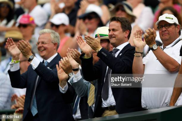 Luxembourg's Prime Minister Xavier Bettel Prince Guillaume of Luxembourg applaud during the Gentlemen's Singles quarter final match between Gilles...