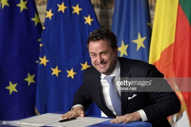 Luxembourg's Prime Minister Xavier Bettel reacts as he signs the new Rome declaration with leaders of 27 European Union countries special during a...