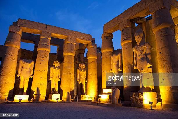 Templo de Luxor e azul horas