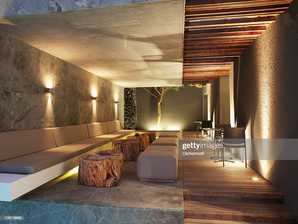 Luxurious apartment in the night : Stock Photo