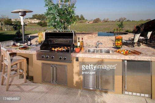Luxurious backyard barbecue.