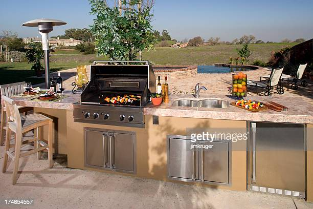 Luxurious backyard barbecue.