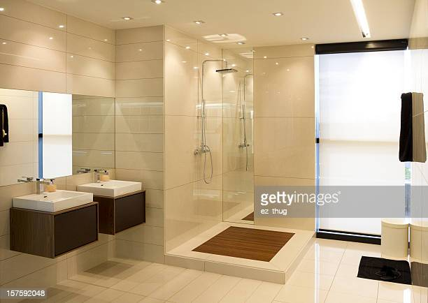 Luxurious bathroom with natural lighting from windows
