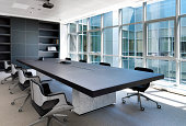 Conference room with luxurious table and chairs