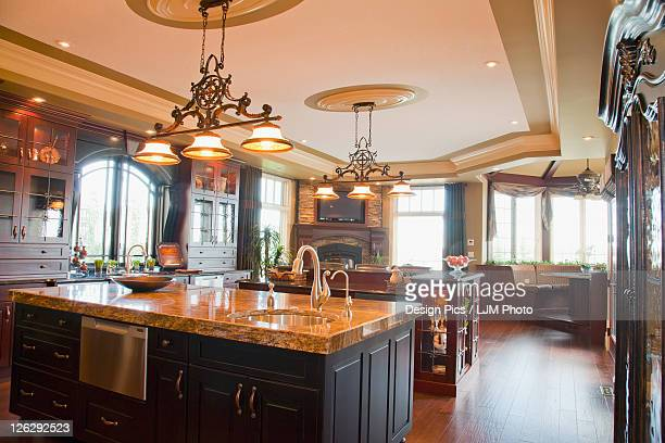 luxurious estate home kitchen and island, st. albert, alberta, canada