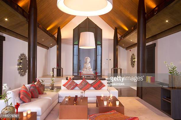 Luxurious living room in a tropical villa in Asia