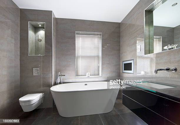luxurious marble lined bathroom