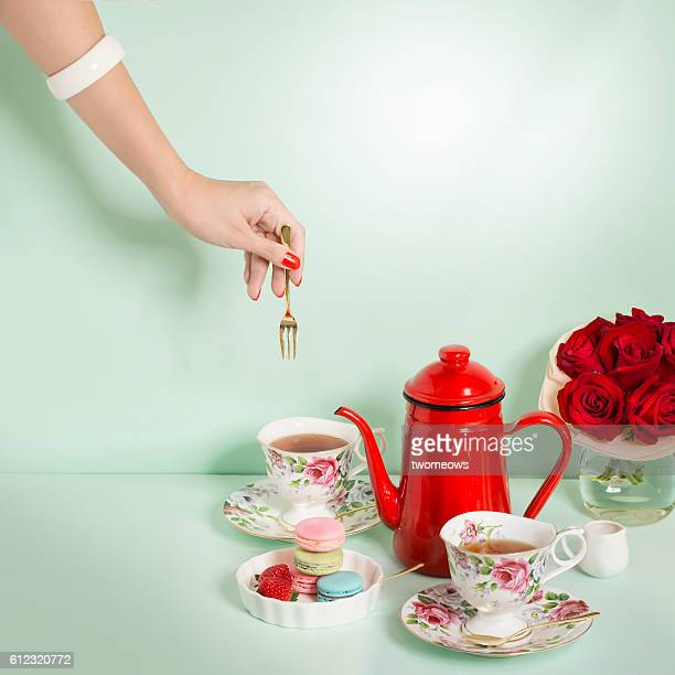 luxury afternoon tea time table top shot.