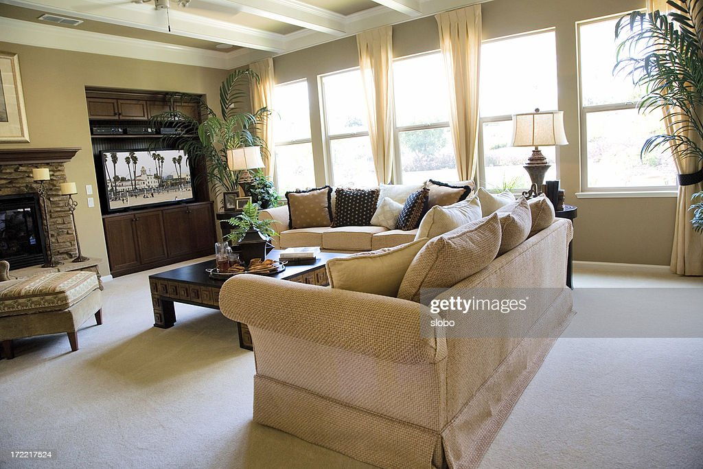 Luxury American Living Room With Fireplace Stock Photo Getty Images