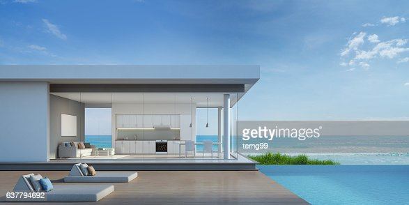 Luxury beach house with sea view pool in modern design : Foto de stock
