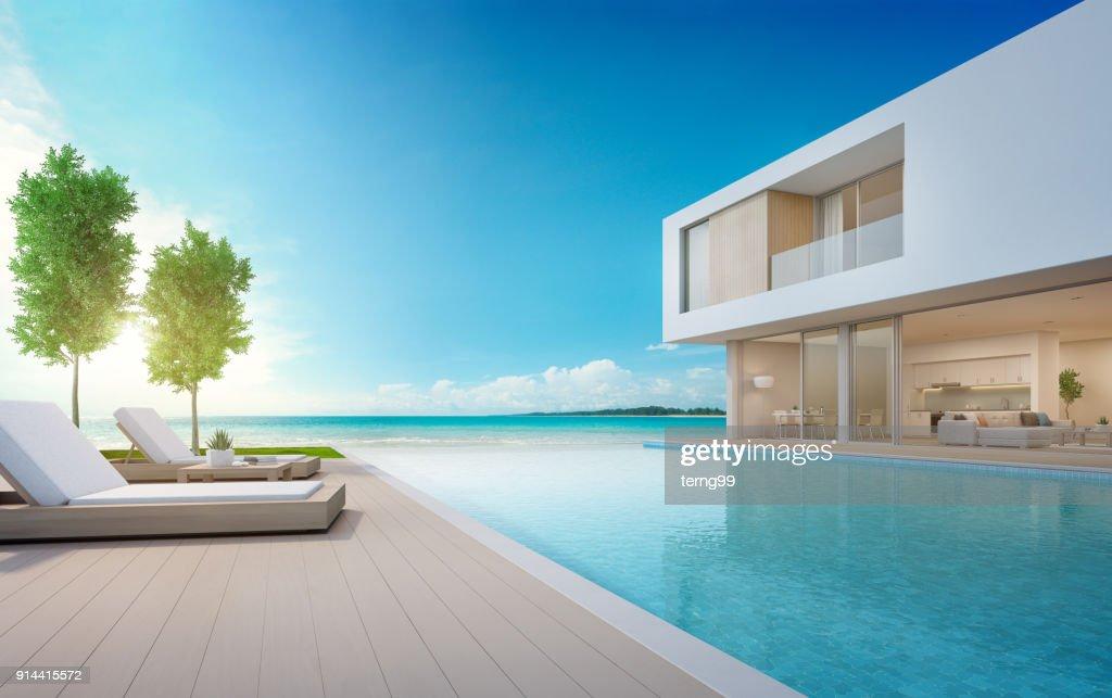 Maison De Plage De Luxe Avec Piscine De La Vue Mer Et Terrasse Dans Un  Design
