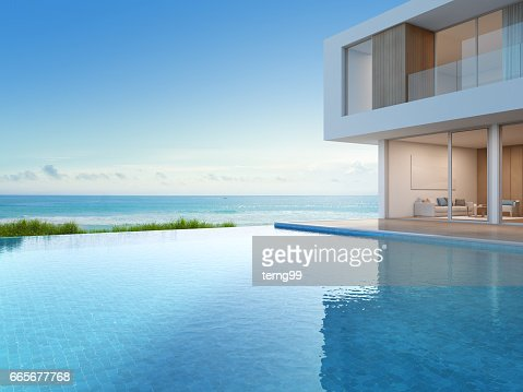 Luxury beach house with sea view swimming pool in modern design, Vacation home for big family : Stock Photo